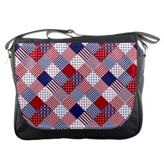 Usa Americana Diagonal Red White & Blue Quilt Messenger Bags by PodArtist