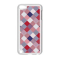Usa Americana Diagonal Red White & Blue Quilt Apple Ipod Touch 5 Case (white) by PodArtist