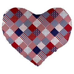 Usa Americana Diagonal Red White & Blue Quilt Large 19  Premium Heart Shape Cushions by PodArtist