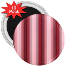 Usa Flag Red And White Stripes 3  Magnets (10 Pack)  by PodArtist