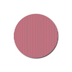 Usa Flag Red And White Stripes Rubber Coaster (round)  by PodArtist
