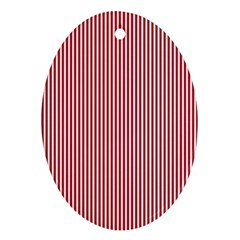 Usa Flag Red And White Stripes Oval Ornament (two Sides) by PodArtist