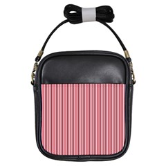 Usa Flag Red And White Stripes Girls Sling Bags by PodArtist