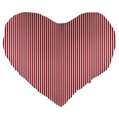Usa Flag Red And White Stripes Large 19  Premium Heart Shape Cushions by PodArtist