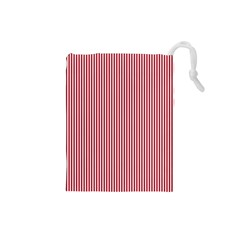 Usa Flag Red And White Stripes Drawstring Pouches (small)  by PodArtist