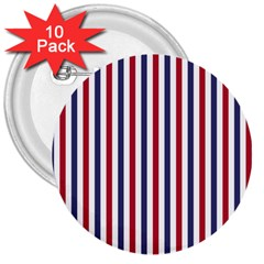 Usa Flag Red White And Flag Blue Wide Stripes 3  Buttons (10 Pack)  by PodArtist
