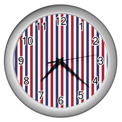 Usa Flag Red White And Flag Blue Wide Stripes Wall Clocks (silver)  by PodArtist