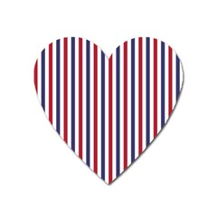 Usa Flag Red White And Flag Blue Wide Stripes Heart Magnet by PodArtist