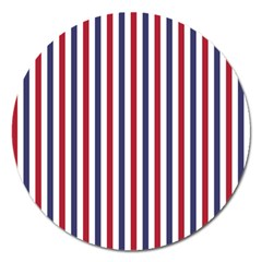 Usa Flag Red White And Flag Blue Wide Stripes Magnet 5  (round) by PodArtist