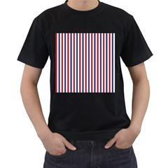 Usa Flag Red White And Flag Blue Wide Stripes Men s T-shirt (black) (two Sided) by PodArtist