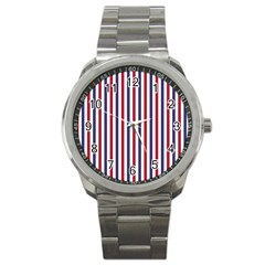Usa Flag Red White And Flag Blue Wide Stripes Sport Metal Watch by PodArtist