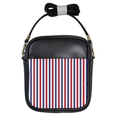 Usa Flag Red White And Flag Blue Wide Stripes Girls Sling Bags by PodArtist