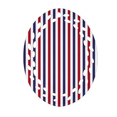 Usa Flag Red White And Flag Blue Wide Stripes Ornament (oval Filigree) by PodArtist