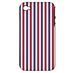 Usa Flag Red White And Flag Blue Wide Stripes Apple Iphone 4/4s Hardshell Case (pc+silicone) by PodArtist