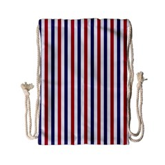 Usa Flag Red White And Flag Blue Wide Stripes Drawstring Bag (small) by PodArtist