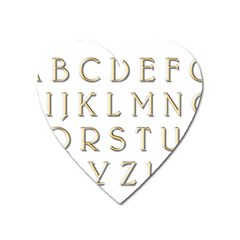 Letters Gold Classic Alphabet Heart Magnet by Sapixe