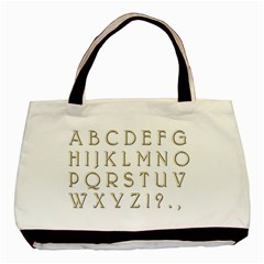 Letters Gold Classic Alphabet Basic Tote Bag (two Sides) by Sapixe