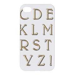 Letters Gold Classic Alphabet Apple Iphone 4/4s Hardshell Case by Sapixe