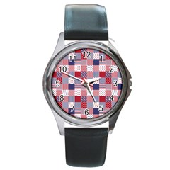 Usa Americana Patchwork Red White & Blue Quilt Round Metal Watch