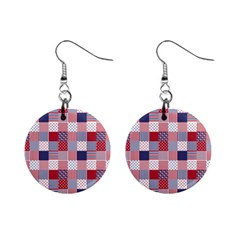 Usa Americana Patchwork Red White & Blue Quilt Mini Button Earrings by PodArtist
