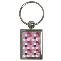 Usa Americana Patchwork Red White & Blue Quilt Key Chains (rectangle)