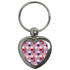 Usa Americana Patchwork Red White & Blue Quilt Key Chains (heart)  by PodArtist