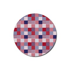 Usa Americana Patchwork Red White & Blue Quilt Rubber Coaster (round)  by PodArtist