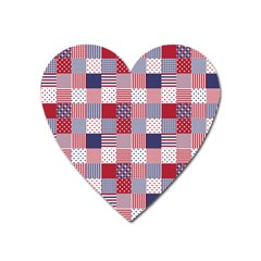 Usa Americana Patchwork Red White & Blue Quilt Heart Magnet by PodArtist