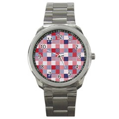 Usa Americana Patchwork Red White & Blue Quilt Sport Metal Watch by PodArtist