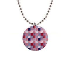 Usa Americana Patchwork Red White & Blue Quilt Button Necklaces by PodArtist