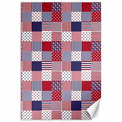 Usa Americana Patchwork Red White & Blue Quilt Canvas 12  X 18   by PodArtist