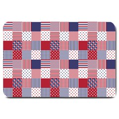 Usa Americana Patchwork Red White & Blue Quilt Large Doormat  by PodArtist