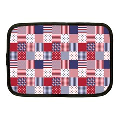 Usa Americana Patchwork Red White & Blue Quilt Netbook Case (medium)  by PodArtist