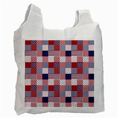 Usa Americana Patchwork Red White & Blue Quilt Recycle Bag (one Side)