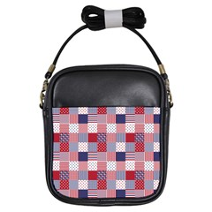 Usa Americana Patchwork Red White & Blue Quilt Girls Sling Bags by PodArtist
