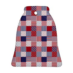 Usa Americana Patchwork Red White & Blue Quilt Ornament (bell) by PodArtist