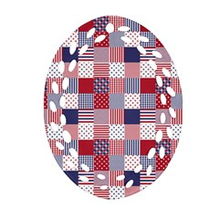 Usa Americana Patchwork Red White & Blue Quilt Ornament (oval Filigree) by PodArtist