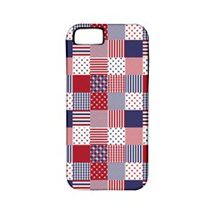 Usa Americana Patchwork Red White & Blue Quilt Apple Iphone 5 Classic Hardshell Case (pc+silicone)