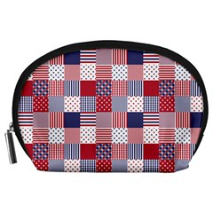 Usa Americana Patchwork Red White & Blue Quilt Accessory Pouches (large)  by PodArtist