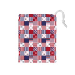 Usa Americana Patchwork Red White & Blue Quilt Drawstring Pouches (medium)  by PodArtist