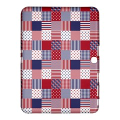 Usa Americana Patchwork Red White & Blue Quilt Samsung Galaxy Tab 4 (10 1 ) Hardshell Case  by PodArtist