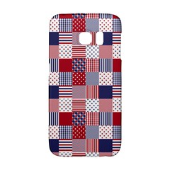 Usa Americana Patchwork Red White & Blue Quilt Galaxy S6 Edge