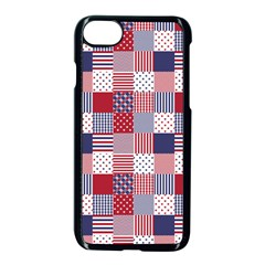 Usa Americana Patchwork Red White & Blue Quilt Apple Iphone 8 Seamless Case (black)