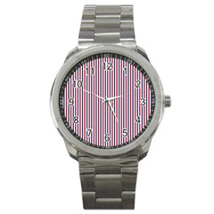 Usa Flag Red And Flag Blue Narrow Thin Stripes  Sport Metal Watch by PodArtist
