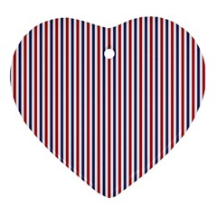 Usa Flag Red And Flag Blue Narrow Thin Stripes  Heart Ornament (two Sides) by PodArtist