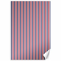 Usa Flag Red And Flag Blue Narrow Thin Stripes  Canvas 20  X 30   by PodArtist