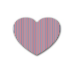 Usa Flag Red And Flag Blue Narrow Thin Stripes  Heart Coaster (4 Pack)  by PodArtist