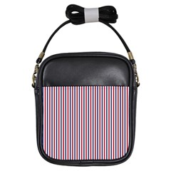 Usa Flag Red And Flag Blue Narrow Thin Stripes  Girls Sling Bags by PodArtist