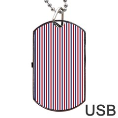 Usa Flag Red And Flag Blue Narrow Thin Stripes  Dog Tag Usb Flash (one Side) by PodArtist