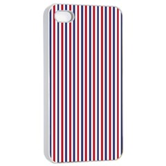 Usa Flag Red And Flag Blue Narrow Thin Stripes  Apple Iphone 4/4s Seamless Case (white) by PodArtist